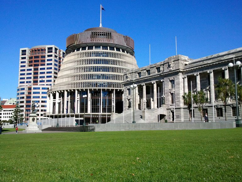 Wellington, New Zealand Parliament Buildings; accessed via Wikimedia Commons