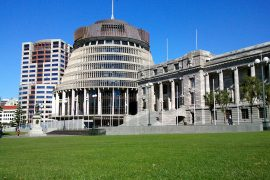 Wellington, New Zealand Parliament Buildings; accessed via Wikimedia Commons